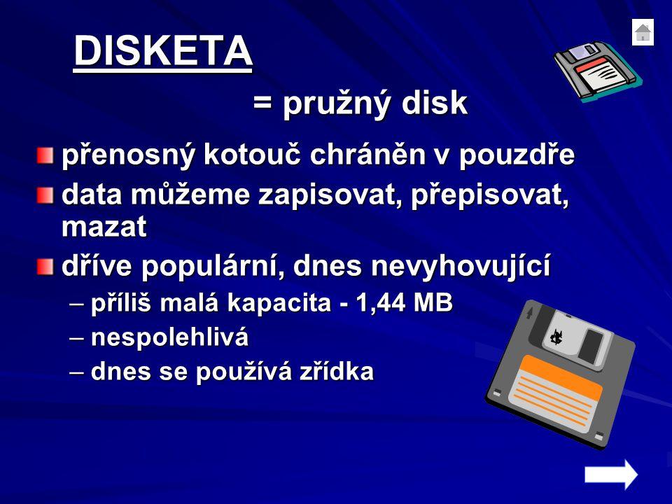 DISKETA = pružný disk přenosný kotouč chráněn v pouzdře