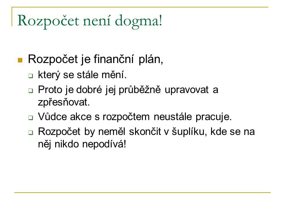 Rozpočet není dogma! Rozpočet je finanční plán, který se stále mění.