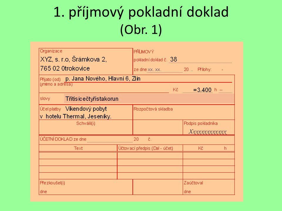 1. příjmový pokladní doklad (Obr. 1)