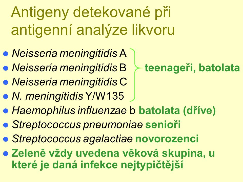 Antigeny detekované při antigenní analýze likvoru