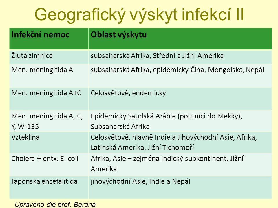 Geografický výskyt infekcí II