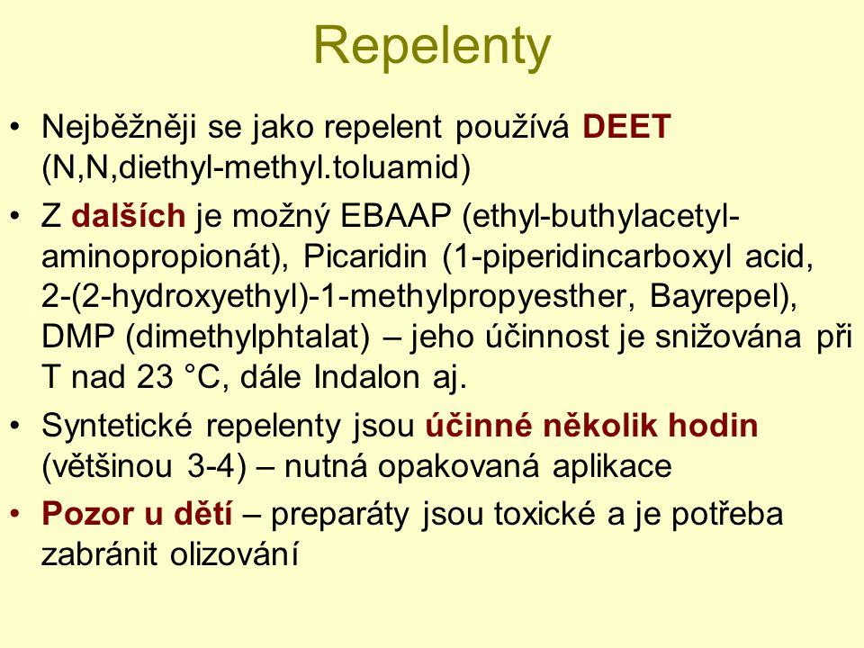 Repelenty Nejběžněji se jako repelent používá DEET (N,N,diethyl-methyl.toluamid)