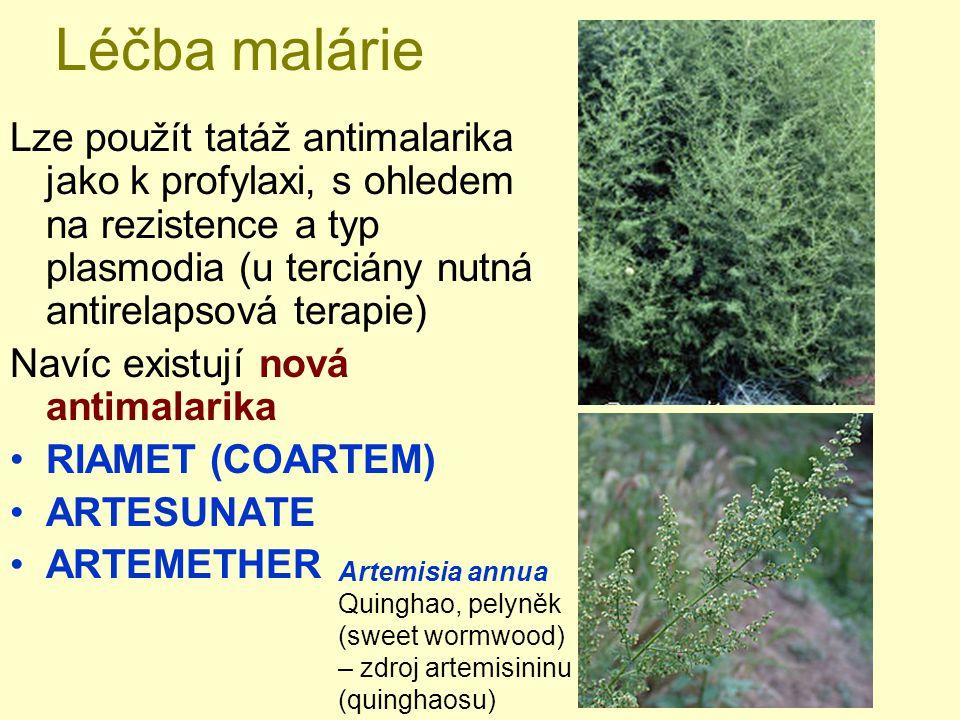 Léčba malárie Lze použít tatáž antimalarika jako k profylaxi, s ohledem na rezistence a typ plasmodia (u terciány nutná antirelapsová terapie)
