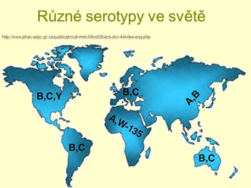 Různé serotypy ve světě