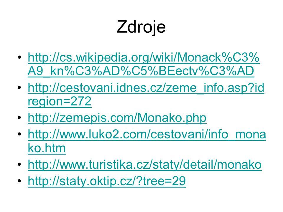 Zdroje http://cs.wikipedia.org/wiki/Monack%C3%A9_kn%C3%AD%C5%BEectv%C3%AD. http://cestovani.idnes.cz/zeme_info.asp idregion=272.