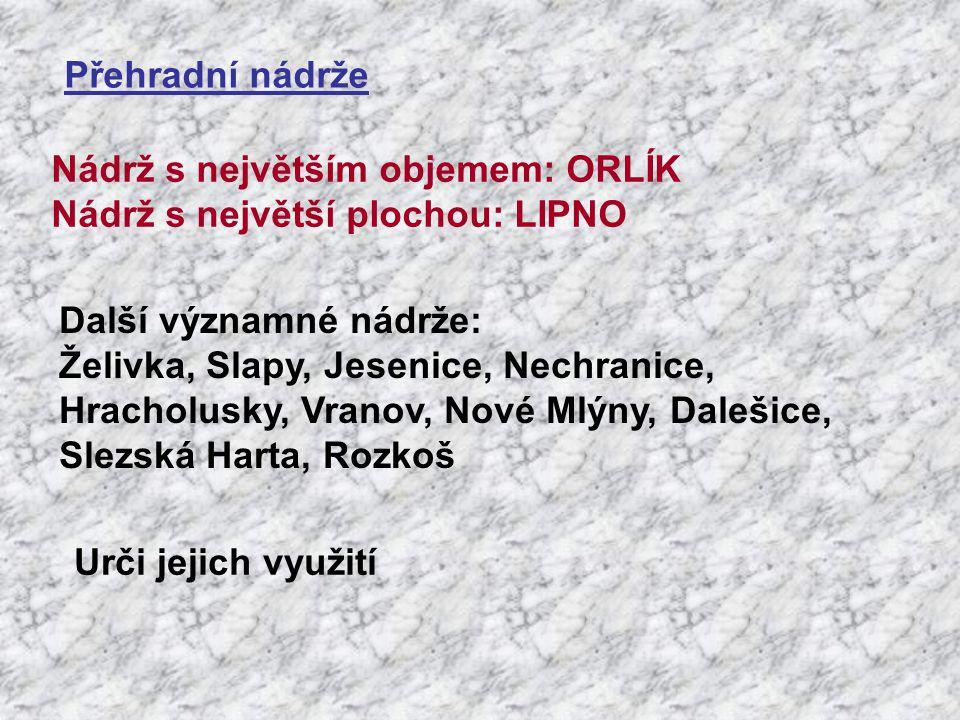 Přehradní nádrže Nádrž s největším objemem: ORLÍK. Nádrž s největší plochou: LIPNO. Další významné nádrže:
