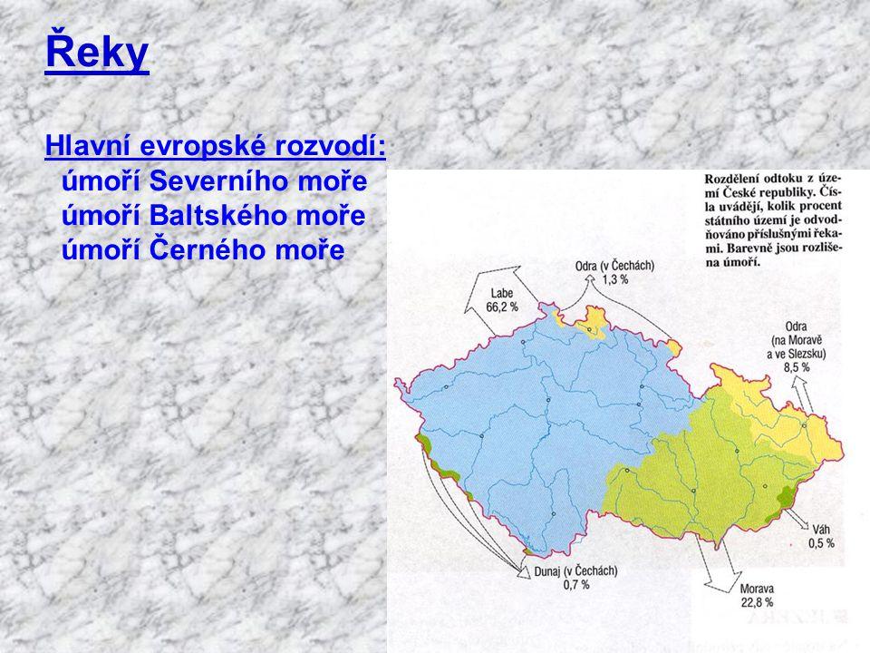 Řeky Hlavní evropské rozvodí: úmoří Severního moře
