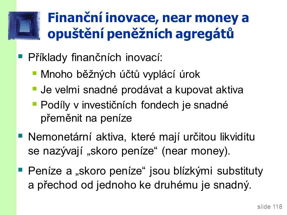 Finanční inovace, near money a opuštění peněžních agregátů