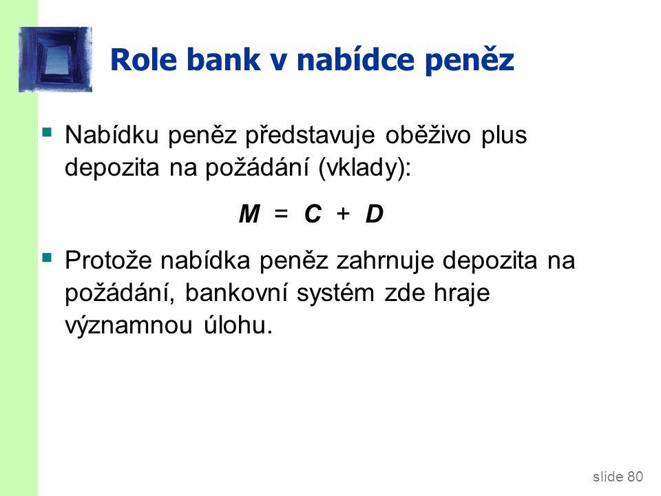 Pár definic… Rezervy (R ): část depozit, které banky neposkytly ve formě úvěrů.