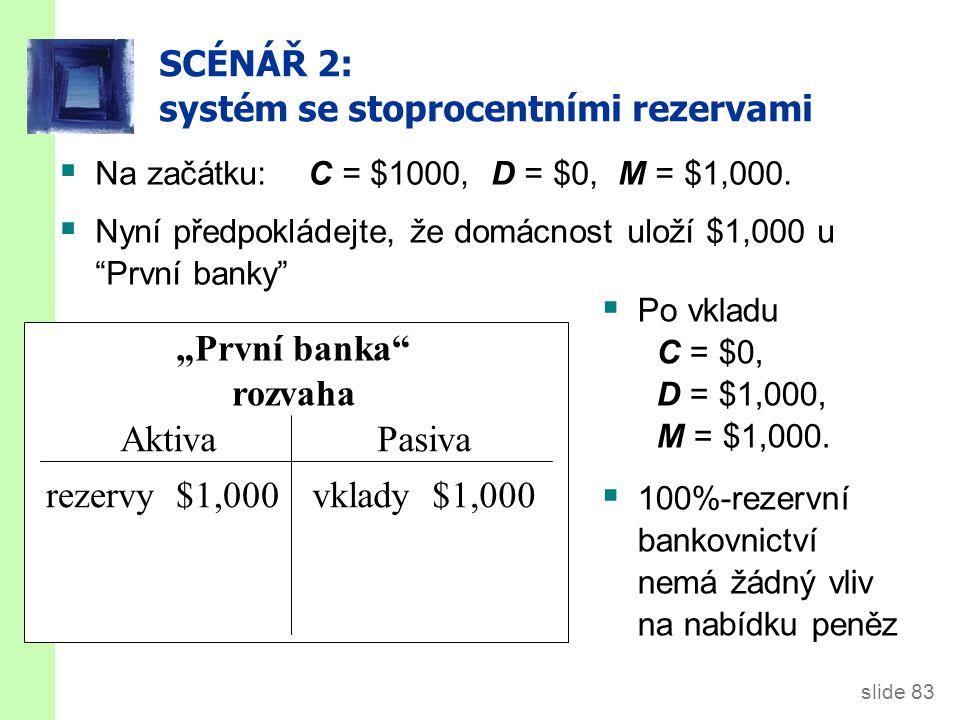 SCÉNÁŘ 3: systém s částečnými rezervami