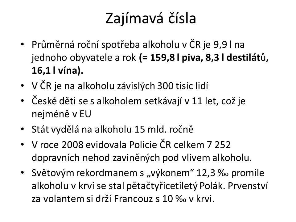 Zajímavá čísla Průměrná roční spotřeba alkoholu v ČR je 9,9 l na jednoho obyvatele a rok (= 159,8 l piva, 8,3 l destilátů, 16,1 l vína).