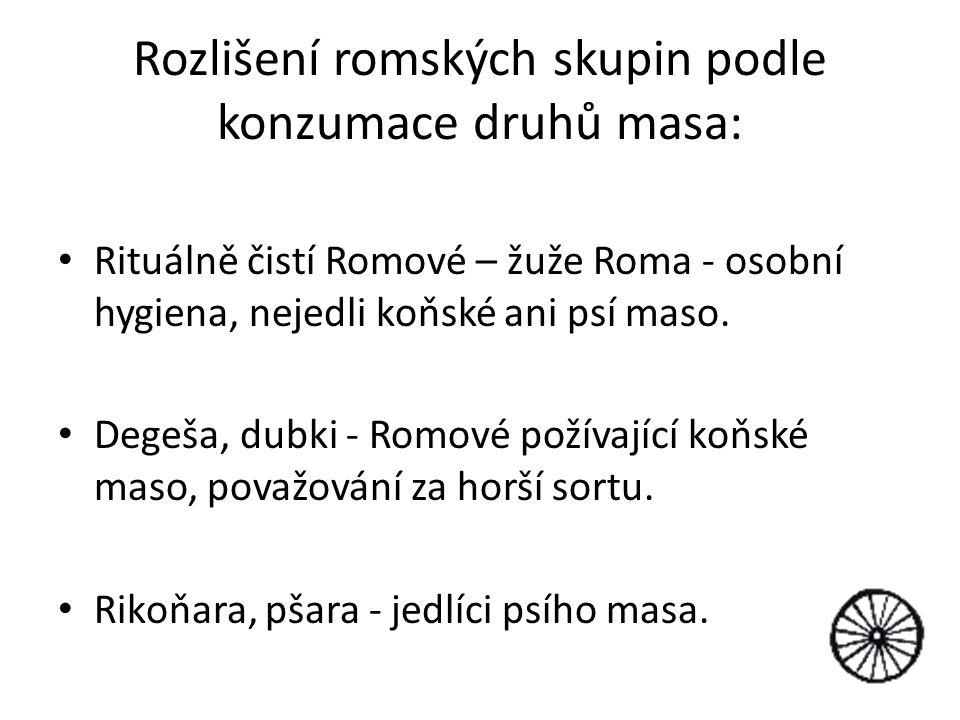 Rozlišení romských skupin podle konzumace druhů masa: