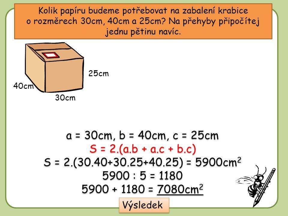 Kolik papíru budeme potřebovat na zabalení krabice