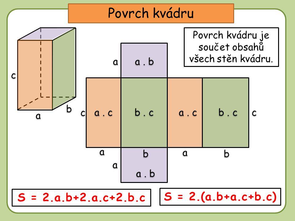 Povrch kvádru je součet obsahů všech stěn kvádru.