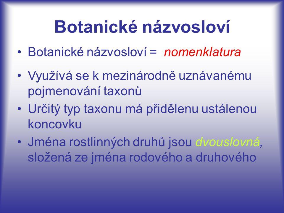 Botanické názvosloví Botanické názvosloví = nomenklatura