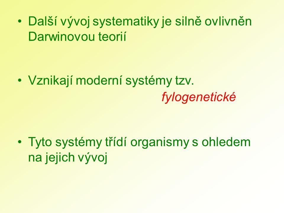 Další vývoj systematiky je silně ovlivněn Darwinovou teorií