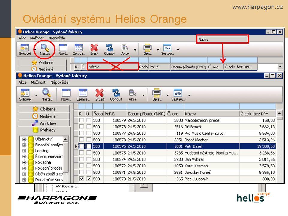 Ovládání systému Helios Orange