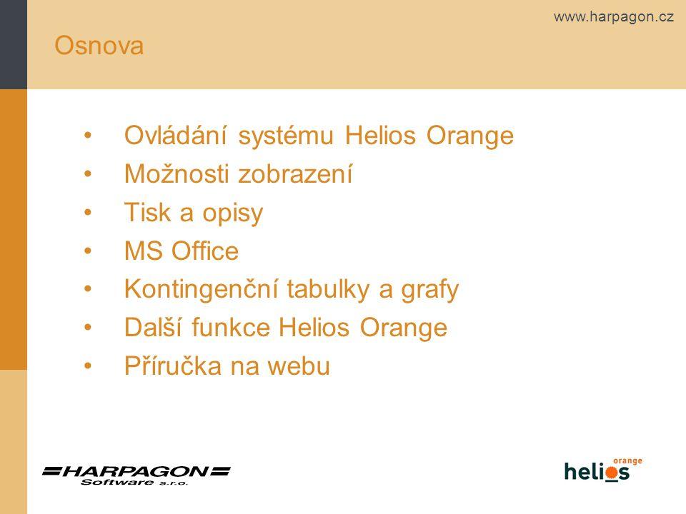 Osnova Ovládání systému Helios Orange. Možnosti zobrazení. Tisk a opisy. MS Office. Kontingenční tabulky a grafy.