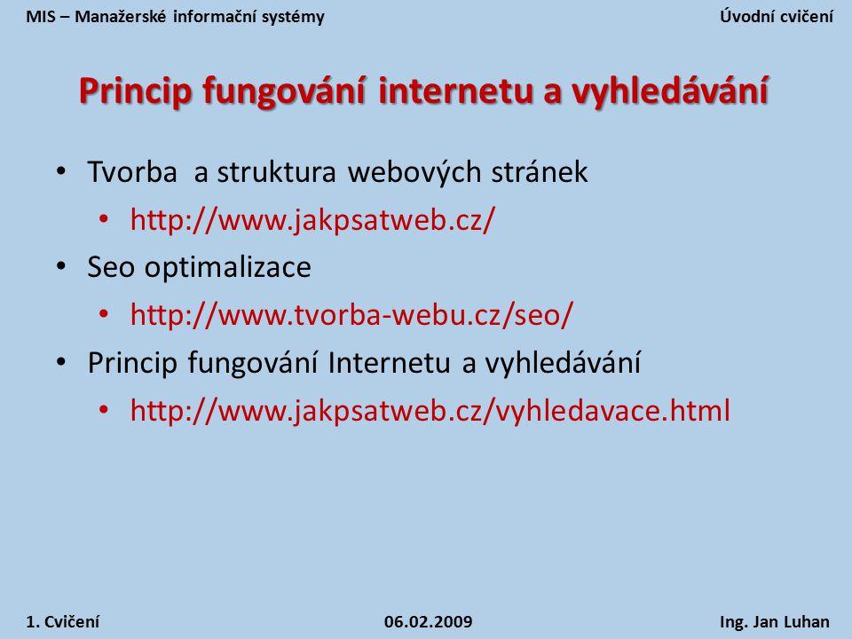 Princip fungování internetu a vyhledávání