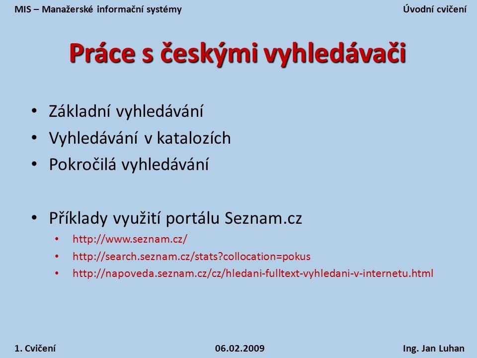 Práce s českými vyhledávači