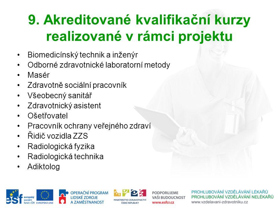 9. Akreditované kvalifikační kurzy realizované v rámci projektu