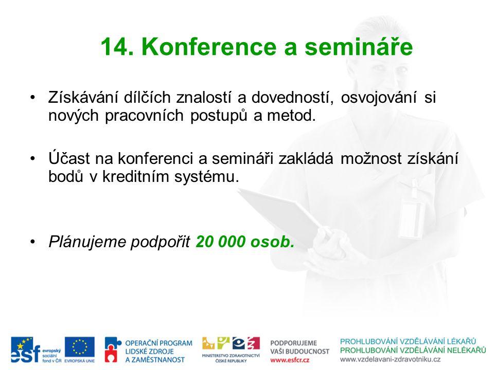 14. Konference a semináře Získávání dílčích znalostí a dovedností, osvojování si nových pracovních postupů a metod.