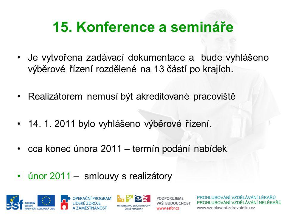 15. Konference a semináře Je vytvořena zadávací dokumentace a bude vyhlášeno výběrové řízení rozdělené na 13 částí po krajích.