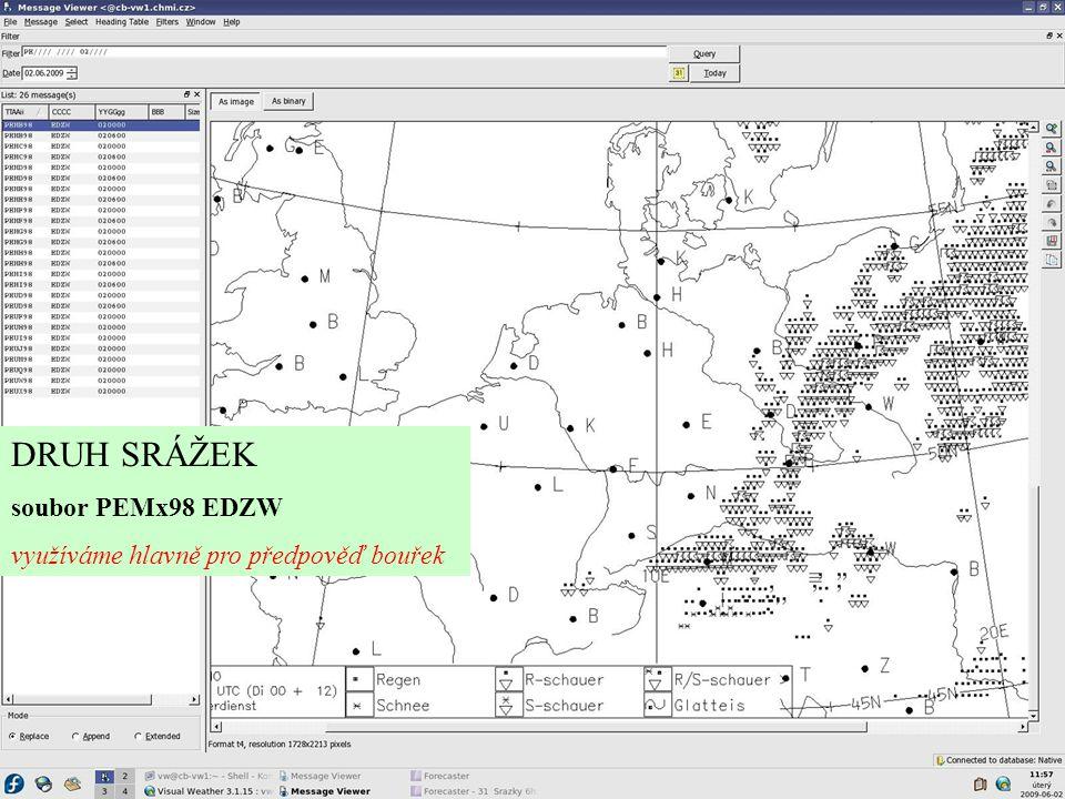 DRUH SRÁŽEK soubor PEMx98 EDZW využíváme hlavně pro předpověď bouřek