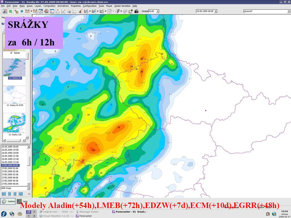 SRÁŽKY za 6h / 12h Modely Aladin(+54h),LMEB(+72h),EDZW(+7d),ECM(+10d),EGRR(+48h)