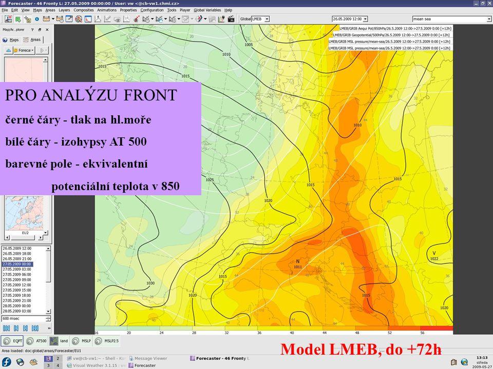 PRO ANALÝZU FRONT Model LMEB, do +72h černé čáry - tlak na hl.moře