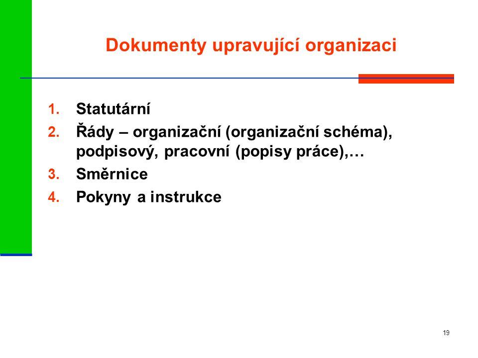 Dokumenty upravující organizaci