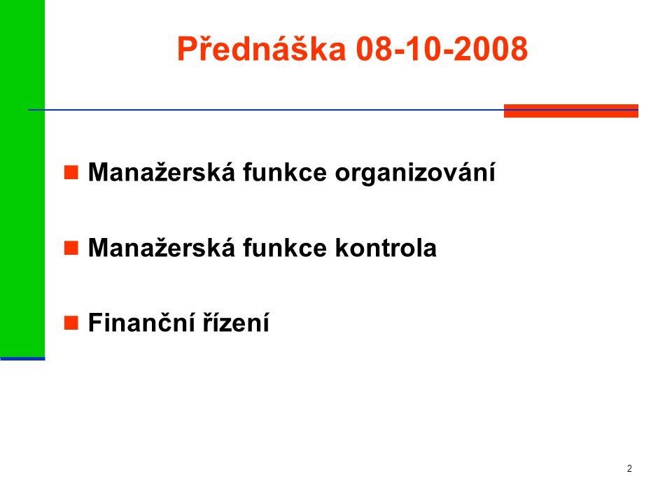 Přednáška 08-10-2008 Manažerská funkce organizování