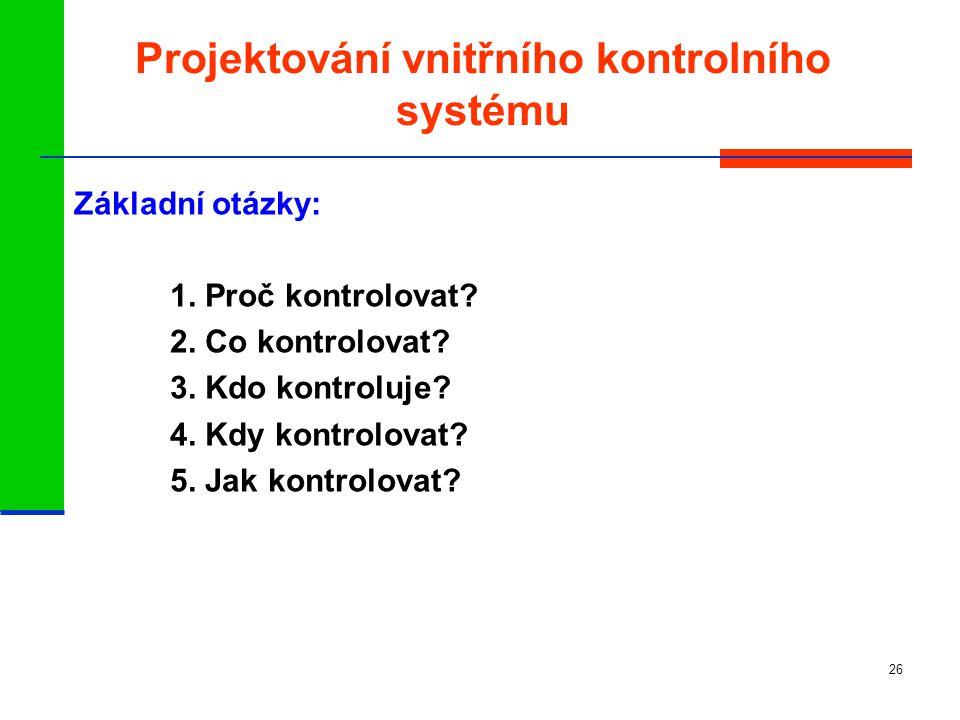 Projektování vnitřního kontrolního systému