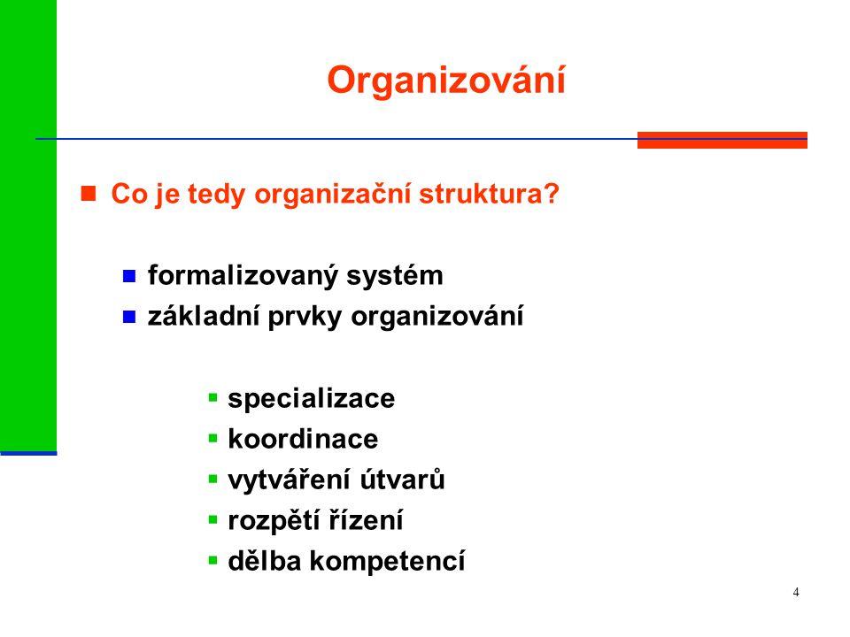 Organizování Co je tedy organizační struktura formalizovaný systém
