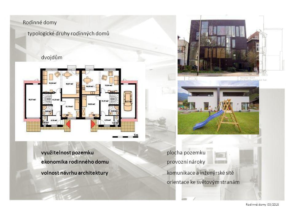 Rodinné domy typologické druhy rodinných domů. dvojdům. využitelnost pozemku. plocha pozemku. ekonomika rodinného domu.