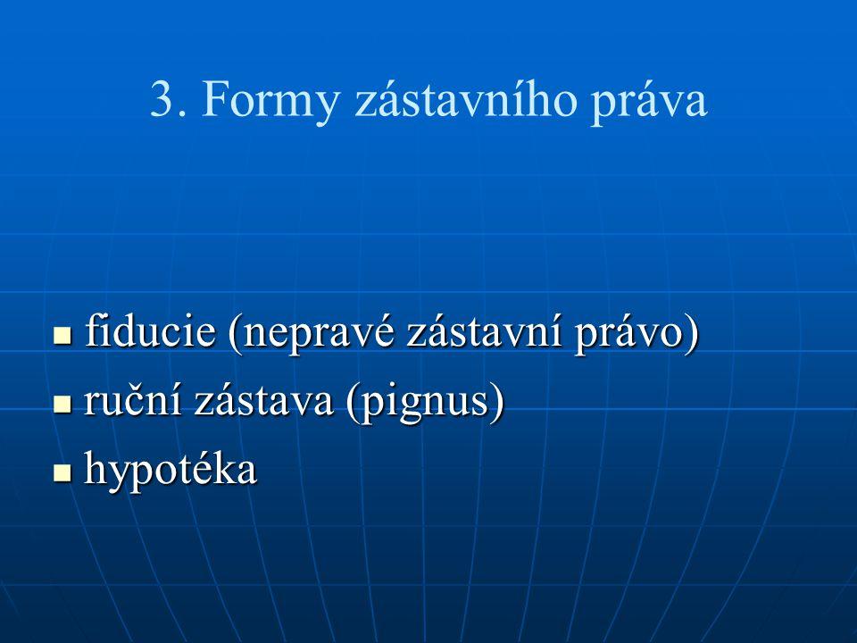 3. Formy zástavního práva