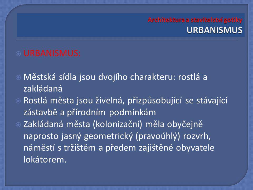 Architektura a stavitelství gotiky URBANISMUS
