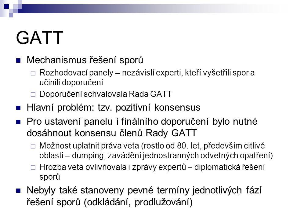 GATT Mechanismus řešení sporů Hlavní problém: tzv. pozitivní konsensus