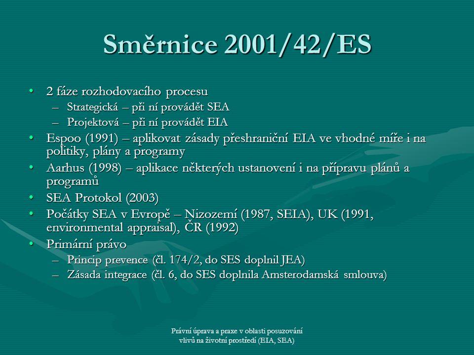 Směrnice 2001/42/ES 2 fáze rozhodovacího procesu