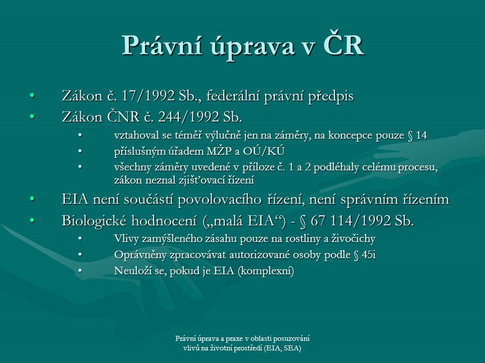 Právní úprava v ČR Zákon č. 17/1992 Sb., federální právní předpis