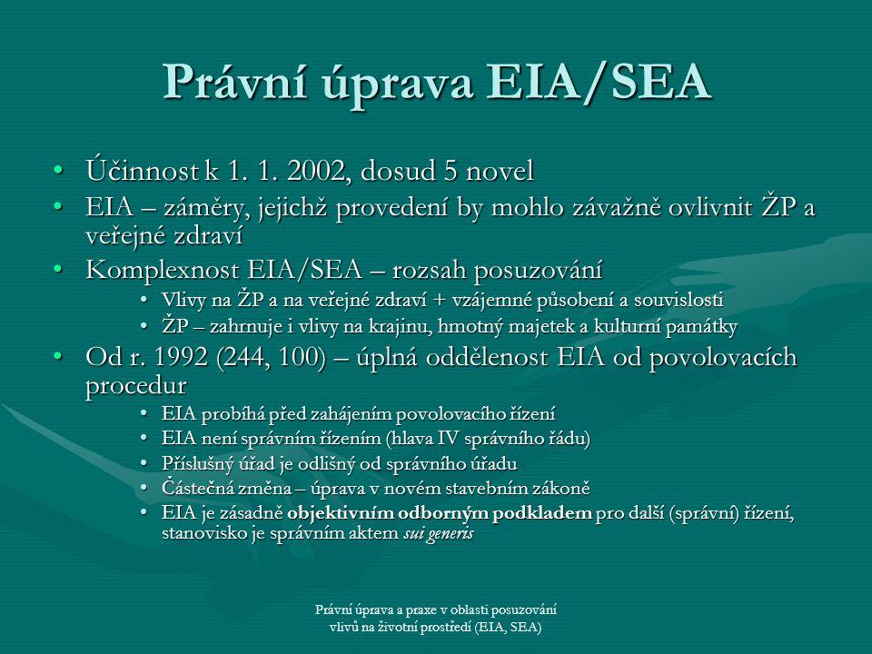 Právní úprava EIA/SEA Účinnost k 1. 1. 2002, dosud 5 novel