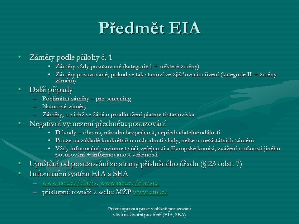 Předmět EIA Záměry podle přílohy č. 1 Další případy