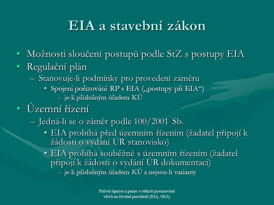 EIA a stavební zákon Územní řízení