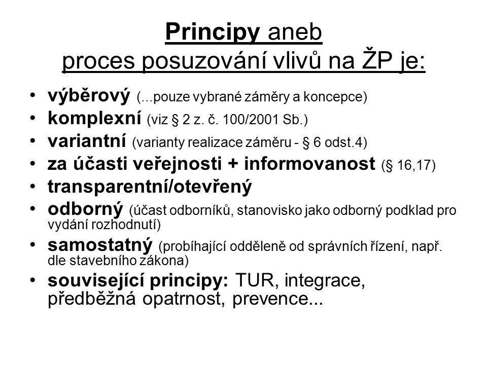 Principy aneb proces posuzování vlivů na ŽP je: