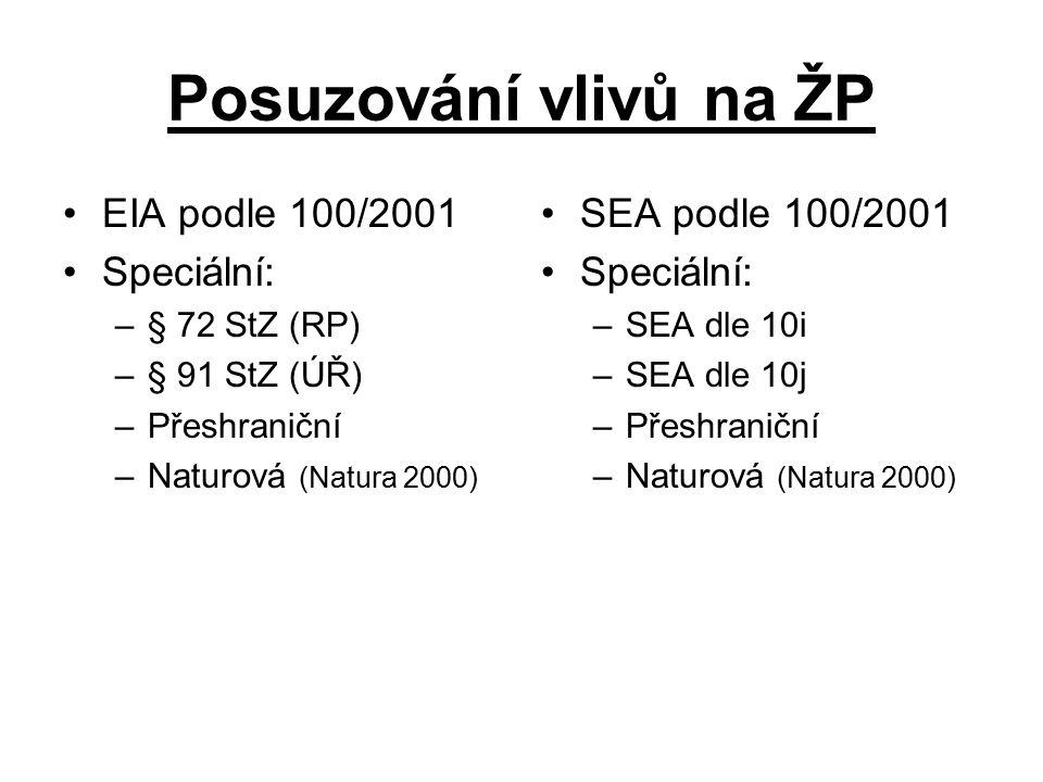 Posuzování vlivů na ŽP EIA podle 100/2001 Speciální: