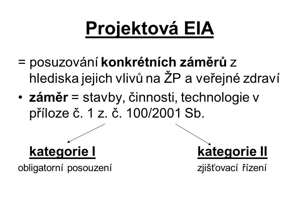 Projektová EIA = posuzování konkrétních záměrů z hlediska jejich vlivů na ŽP a veřejné zdraví.