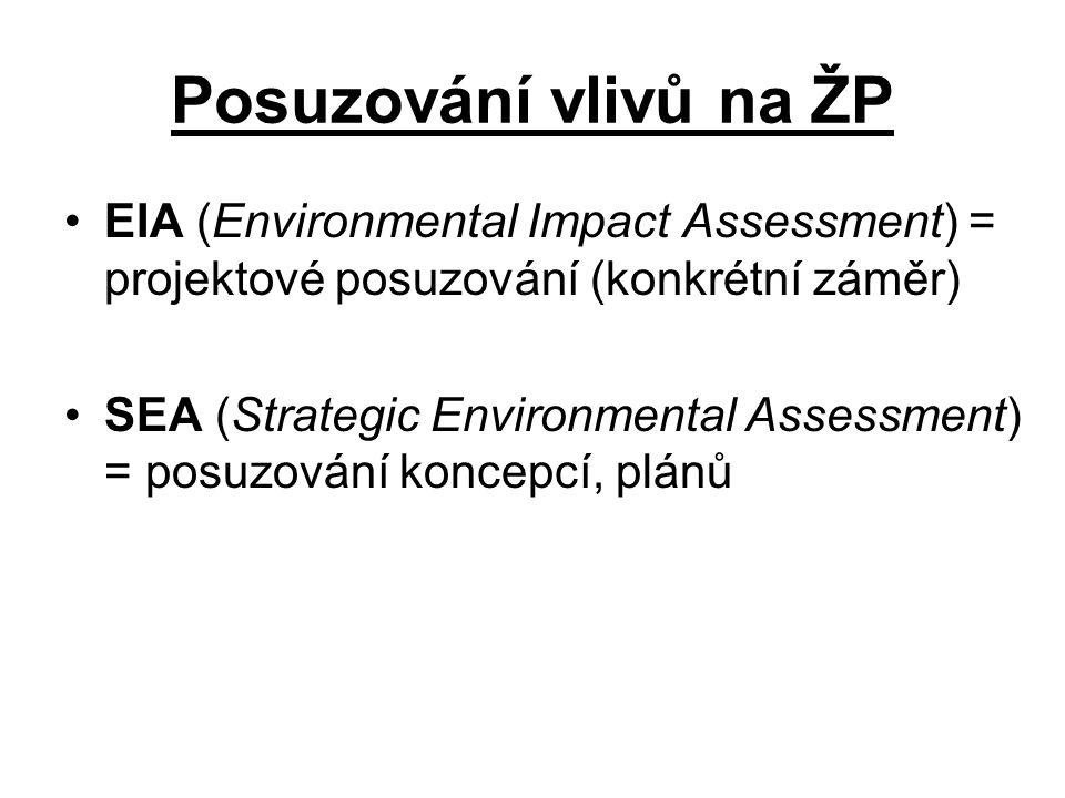 Posuzování vlivů na ŽP EIA (Environmental Impact Assessment) = projektové posuzování (konkrétní záměr)