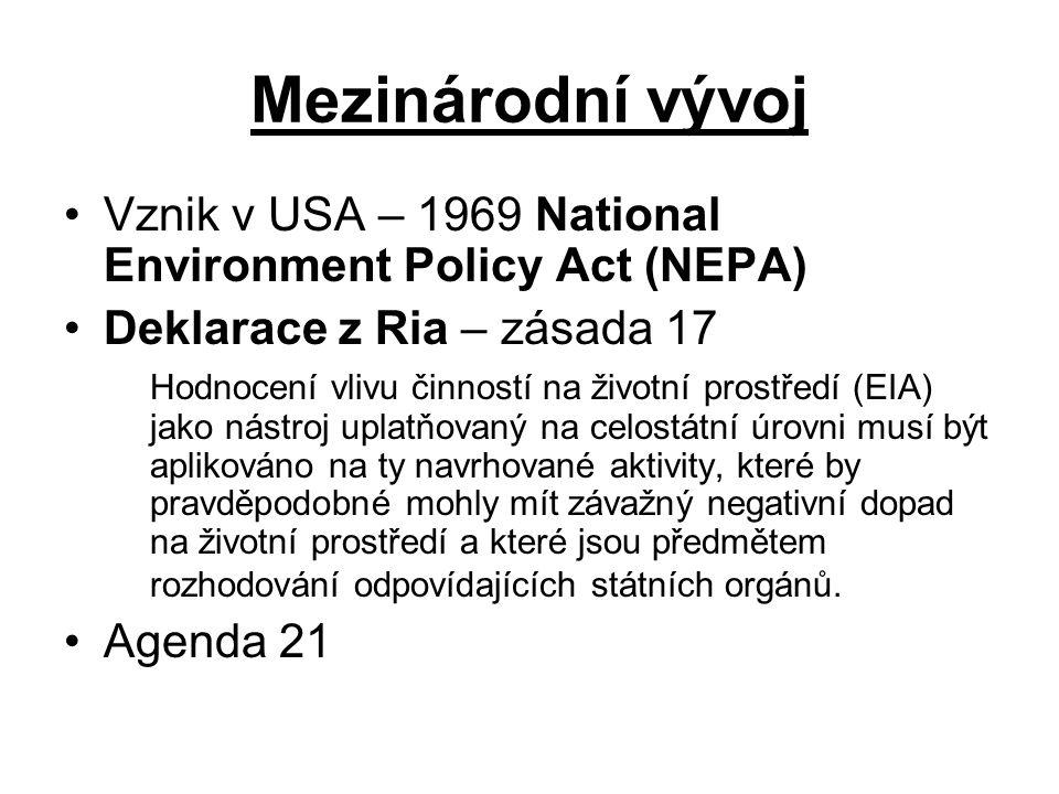 Mezinárodní vývoj Vznik v USA – 1969 National Environment Policy Act (NEPA) Deklarace z Ria – zásada 17.