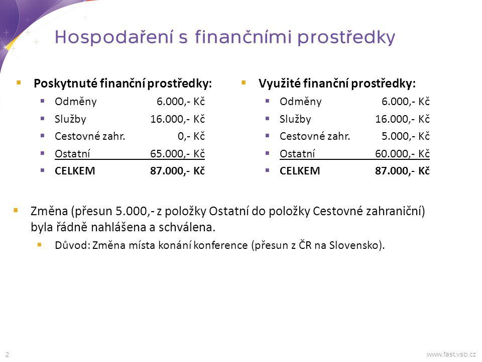 Hospodaření s finančními prostředky