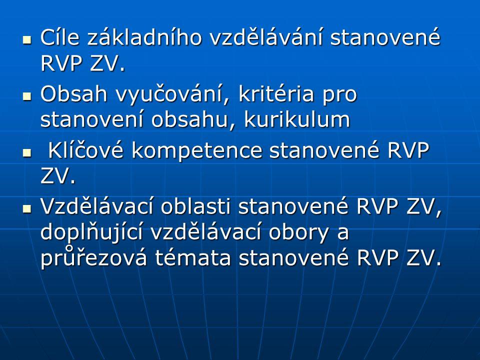 Cíle základního vzdělávání stanovené RVP ZV.